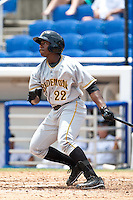Quincy Latimore (22) of the Bradenton Marauders during a game vs. the Dunedin Blue Jays May 16 2010 at Dunedin Stadium in Dunedin, Florida. Bradenton won the game against Dunedin by the score of 3-2.  Photo By Scott Jontes/Four Seam Images