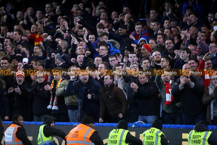 Liverpool fans urge their team forward during the second half - Chelsea vs Liverpool - Capital One Cup Semi-Final Second Leg Football at the Stamford Bridge, London - 27/01/15 - MANDATORY CREDIT: Paul Dennis/TGSPHOTO - Self billing applies where appropriate - contact@tgsphoto.co.uk - NO UNPAID USE