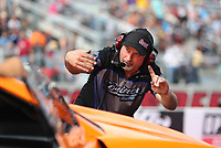 Oct 28, 2016; Las Vegas, NV, USA; Crew member for NHRA pro stock driver Bo Butner during qualifying for the Toyota Nationals at The Strip at Las Vegas Motor Speedway. Mandatory Credit: Mark J. Rebilas-USA TODAY Sports