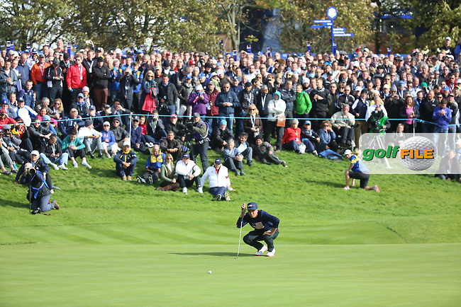 Rickie Fowler (USA)  during the Saturday morning Fourballs of the 2014 Ryder Cup at Gleneagles. The 40th Ryder Cup is being played over the PGA Centenary Course at The Gleneagles Hotel, Perthshire from 26th to 28th September 2014.: Picture Kenneth E.Dennis, www.golffile.ie: \27/09/2014\