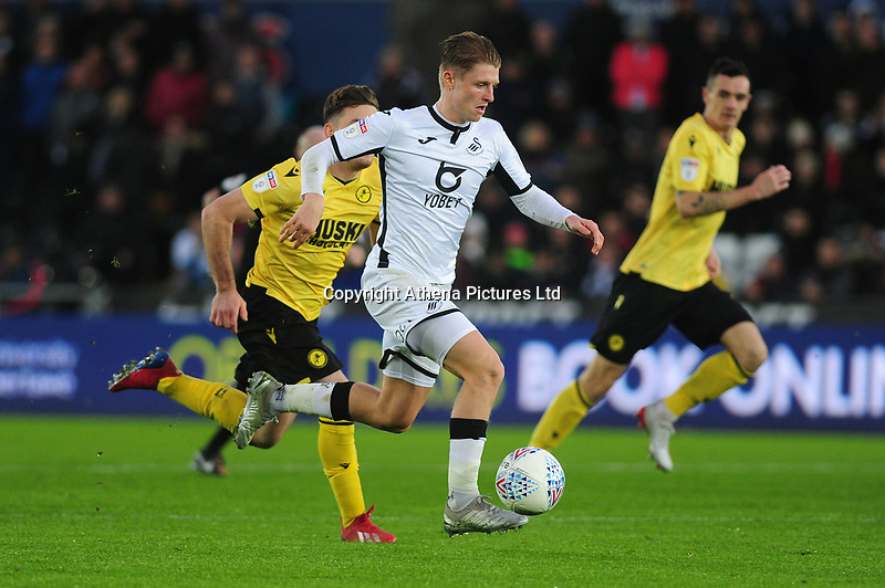 George Byers of Swansea City in action during the Sky Bet Championship match between Swansea City and Millwall at the Liberty Stadium in Swansea, Wales, UK. Saturday 23rd November 2019