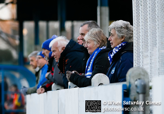 Pickering fans watching the game in front of the Jamie Vardy Stand. Stocksbridge Park Steels v Pickering Town,  Evo-Stik East Division, 17th November 2018. Stocksbridge Park Steels were born from the works team of the local British Steel plant that dominates the town north of Sheffield.<br />