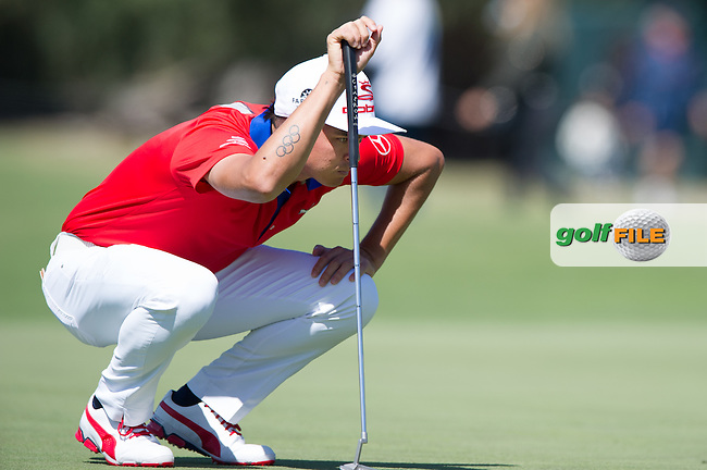 Rickie Fowler (USA) during round 1 of the ISPS Handa World Cup of Golf, from Kingston heath Golf Club, Melbourne Australia. 24/11/2016<br /> Picture: Golffile | Anthony Powter<br /> <br /> <br /> All photo usage must carry mandatory copyright credit (&copy; Golffile | Anthony Powter)