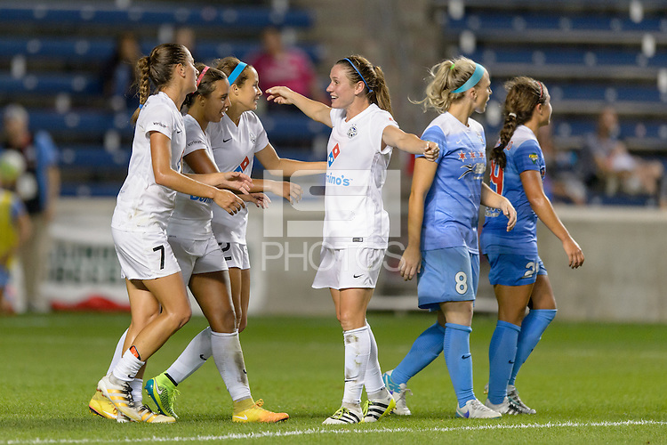 Chicago, IL - Wednesday Sept. 07, 2016: Mandy Laddish, Frances Silva celebrates scoring, Shea Groom, Heather O'Reilly during a regular season National Women's Soccer League (NWSL) match between the Chicago Red Stars and FC Kansas City at Toyota Park.