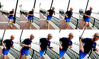 73-yr-old George Hirsch running by the East River, New York City, NY.