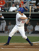 August 9, 2004:  Outfielder Adam Lind of the Auburn Doubledays, Short-Season Single-A affiliate of the Toronto Blue Jays, during a game at Falcon Park in Auburn, NY.  Photo by:  Mike Janes/Four Seam Images