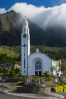 France, île de la Réunion, Parc national de La Réunion, classé Patrimoine Mondial de l'UNESCO, Cirque de CIlaos, Cilaos, l'église du village //  France, Reunion island (French overseas department), Parc National de La Reunion (Reunion National Park), listed as World Heritage by UNESCO, Cirque of Cilaos, Cilaos:  Town Church