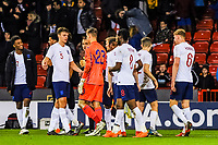 Players shake hands at the end of the game during the International Euro U21 Qualification match between England U21 and Ukraine U21 at Bramall Lane, Sheffield, England on 27 March 2018. Photo by Stephen Buckley / PRiME Media Images.