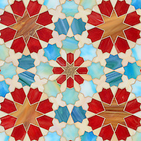 Granada Grande, a waterjet jewel glass mosaic shown in Gold Glass, Tiger's Eye, Garnet, Peacock Topaz, Quartz, and Aquamarine, is part of the Miraflores collection by Paul Schatz for New Ravenna Mosaics.<br />