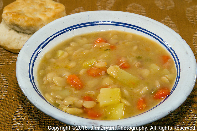Lima bean soup with stewed ham, carrots, celery, potatoes and onions. ©2016. Jim Bryant Photo. All Rights Reserved.