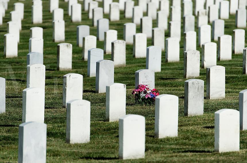 Flowers on grave, Arlington Cemetery, Virginia, USA