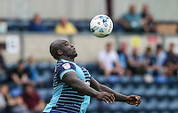 Adebayo Akinfenwa of Wycombe Wanderers controls the ball during the Sky Bet League 2 match between Wycombe Wanderers and Colchester United at Adams Park, High Wycombe, England on 27 August 2016. Photo by Andy Rowland.