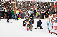 Richie Diehl leaves the start line during the restart of the 2019 Iditarod race in Willow, Alaska.<br /> <br /> Photo by Jeff Schultz/  (C) 2019  ALL RIGHTS RESERVED