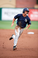 Charlotte Stone Crabs third baseman Jim Haley (38) running the bases during a game against the Palm Beach Cardinals on July 22, 2017 at Roger Dean Stadium in Palm Beach, Florida.  Charlotte defeated Palm Beach 5-2.  (Mike Janes/Four Seam Images)