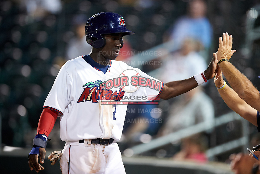 Fort Myers Miracle shortstop Nick Gordon (2) high fives teammates after scoring a run during a game against the Brevard County Manatees on April 13, 2016 at Hammond Stadium in Fort Myers, Florida.  Fort Myers defeated Brevard County 3-0.  (Mike Janes/Four Seam Images)