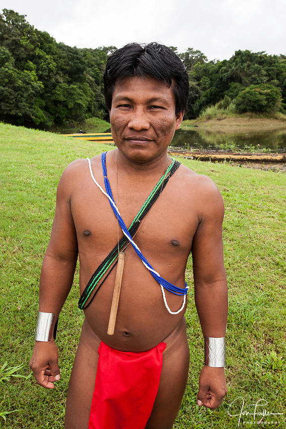 An indigenous Embera man in traditional dress in Panama. Chagres National Park