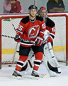 Stephen Gionta and Dave Caruso take part in the third session on Saturday, September 15, 2007 of the New Jersey Devils training camp on Rink 2 of the Richard E. Codey Arena at South Mountain in West Orange, New Jersey...