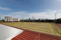 9th May 2020, London Stadium, London, England; The London Stadium, home of West Ham United, deserted during the lockdown for the Covid-19 virus; Declining state of the grass at the London Marathon Community Track next to the London Stadium