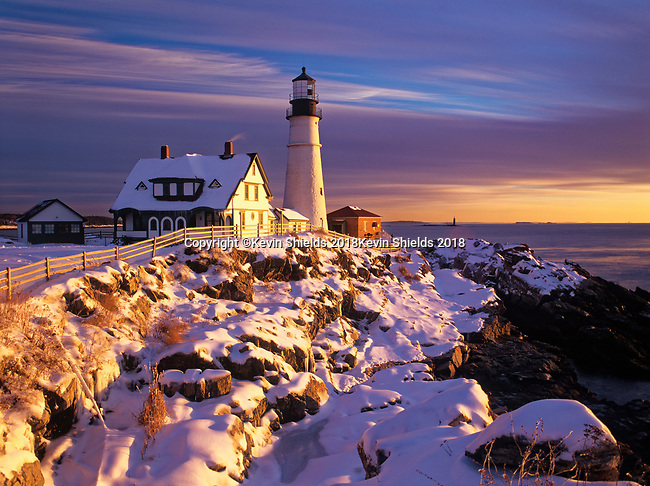 Winter view of Portland Head Lighthouse in Cape Elizabeth, Maine, USA