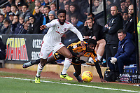 Janoi Donacien of Accrington Stanley gets the better of Medy Elito of Cambridge United during Cambridge United vs Accrington Stanley, Sky Bet EFL League 2 Football at the Cambs Glass Stadium on 11th November 2017
