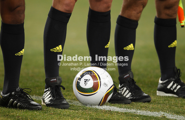 JOHANNESBURG - JUNE 20:  Close up detail of ball and referee legs prior to kick off of a 2010 FIFA World Cup soccer match between Côte d'Ivoire and Brazil June 20, 2010 in Johannesburg, South Africa.  NO mobile use.  Editorial ONLY.