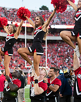 ATHENS, GA - SEPTEMBER 21: Georgia Cheerleaders during a game between Notre Dame Fighting Irish and University of Georgia Bulldogs at Sanford Stadium on September 21, 2019 in Athens, Georgia.