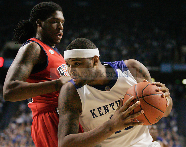 Freshman forward DeMarcus Cousins takes the ball to the net in the first half of UK vs. Ole Miss at Rupp Arena on Tuesday, Feb. 2, 2010. Photo by Britney McIntosh | Staff
