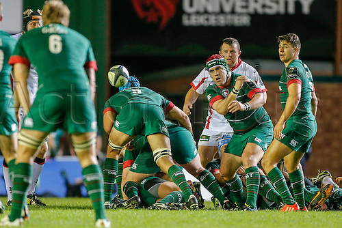 18.10.2014.  Leicester, England.  European Rugby Champions Cup. Leicester Tigers versus Ulster.  Marcos Ayerza of Leicester Tigers spins a pass.