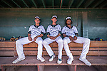 4 September 2016: Vermont Lake Monsters (left to right) outfielders Tyler Ramirez, Luke Persico and infielder JaVon Shelby sit in the dugout prior to a game against the Lowell Spinners at Centennial Field in Burlington, Vermont. The Lake Monsters fell to the Spinners 8-3 in NY Penn League action. Mandatory Credit: Ed Wolfstein Photo *** RAW (NEF) Image File Available ***