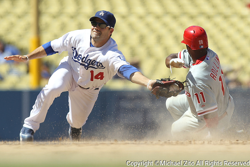 09/01/10 Los Angeles, CA: Los Angeles Dodgers shortstop Jamey Carroll #14 and Philadelphia Phillies shortstop Jimmy Rollins #11 during an MLB game played at Dodger Stadium between the Philadelphia Phillies and the Los Angeles Dodgers. The Phillies defeated the Dodgers 5-1.