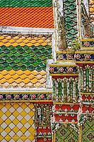 Pattern in colorful tiles adorning building at Wat Phra Kaeo, Bangkok, Thailand.