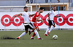 Players of Hebron's Ahly al-Khalil football club and players of Hebron's Shabab al-Khalil club compete during Super Cup soccer match, in the West Bank city of Hebron, on Sep. 09, 2016. Photo by Wisam Hashlamoun