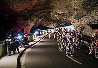 Philippe Gilbert (BEL/Quick Step floors) rolling through a spectacular huge/dark cave: the 'Grotte du Mas-d'Azil'<br /> <br /> Stage 16: Carcassonne &gt; Bagn&egrave;res-de-Luchon (218km)<br /> <br /> 105th Tour de France 2018<br /> &copy;kramon