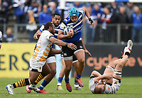Zach Mercer of Bath Rugby takes on the Wasps defence. Gallagher Premiership match, between Bath Rugby and Wasps on May 5, 2019 at the Recreation Ground in Bath, England. Photo by: Patrick Khachfe / Onside Images