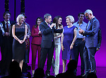Kathleen Marshall, Scott Marshall, Barbara Marshall and Jerry Mitchell with cast during the Curtain Call for the Garry Marshall Tribute Performance of 'Pretty Woman:The Musical' at the Nederlander Theatre on August 2, 2018 in New York City.