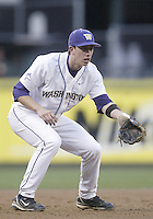 03 April 2009:  Washington's #11 Aaron Russell sets up at third base against Arizona State at Safeco Field in Seattle, WA.  Arizona State won 3-1 over Washington.