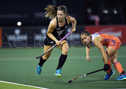 26th November 2017, North Harbour Hockey, Auckland, New Zealand; Hockey World League Final, Netherlands versus New Zealand;  New Zealand's Rose Keddell gets past Kelly Jonker of the Netherlands