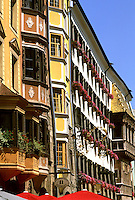 Colorful street scene in Old Town in Innsbruck Austria