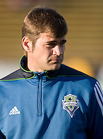 Sounders' goalkeeper coach Tom Dutra is pictured during practice before the game against the Earthquakes at Buck Shaw Stadium in Santa Clara, California on April 2nd, 2011.   San Jose Earthquakes and Seattle Sounders are tied 2-2.