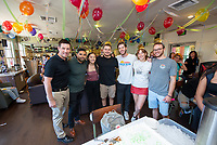 Students, staff, alumni and former staff celebrate the 10th anniversary of Occidental College's student-run cafe, the Green Bean Coffee Lounge, on Wednesday, Oct. 23, 2019 in the Johnson Student Center.<br /> From left to right: Justin Gerboc, former Oxy Assistant Director, Student Organizations and Leadership; Christian Hernandez '12, former Green Bean Manager of Purchases and Inventory; Yuri Lee '20, Green Bean Employment and Quality Control; Jacob Farner '20, Green Bean Sales Analysis; Ben Smith '20, Green Bean Health, Safety, and Sustainability; Anna Franceschelli '20, Green Bean Programming and Customer Experience and Sundy Khalsa '21, Green Bean Inventory and Purchasing.<br /> (Photo by Marc Campos, Occidental College Photographer)