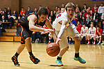Gladstone forward Andrew Conway (20) and La Salle Prep (24) guard Luke Kolln go for a loose ball in the first half at La Salle High School.<br /> Photo by Jaime Valdez
