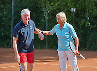 Netherlands, Amstelveen, August 23, 2015, Tennis,  National Veteran Championships, NVK, TV de Kegel,  Final mixed double 65+, Anneke Jelsma-de Jong and her partner Drikus Oosterveld<br /> Photo: Tennisimages/Henk Koster
