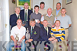 Jerry O'Connell, Beaufort Golf Club President, second from left, presets first prize from his Presidents day to Keith Cummins at the clubhouse on Sunday night. Also pictured are Brian O'Connor, Captain, Gavin O'Loughlin, 2nd, Philip O'Neill, 3rd, Richard O'Donoghue,junior, Dan Moynihan, best gross and longest drive, Con Lanigan 5th, Colm Kelly, nearest the pin, Maurice Fitzgerald, front nine and Brendan O'Meara, guest..NO FEE