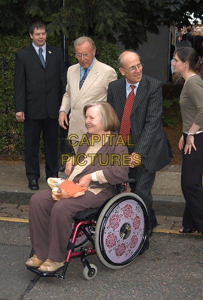DAVID FROST & LORD NORMAN TEBBITT.David Frost's summer party.sales@capitalpictures.com.www.capitalpictures.com.©Capital Pictures.full length, full-length, politics, politician, wheelchair