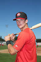 Riley Adams (17) of the Vancouver Canadians poses for a photo before a game against the Salem-Keizer Volcanoes at Volcanoes Stadium on July 24, 2017 in Keizer, Oregon. Salem-Keizer defeated Vancouver, 4-3. (Larry Goren/Four Seam Images)