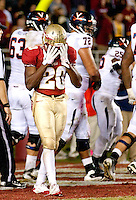 TALLAHASSEE, FL 11/19/11-FSU-UVA111911 CH-Florida State's Lamarcus Joyner reacts after he was unable to stop Virginia's Kevin Parks from scoring the winning touchdown during second half action Saturday at Doak Campbell Stadium in Tallahassee. The Seminoles lost to the Cavaliers 14-13..COLIN HACKLEY PHOTO