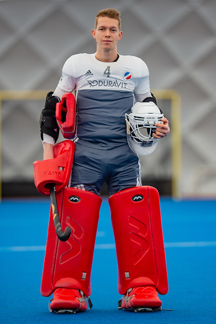 Mannheim, Germany, December 08: Shooting with goalie Lukas Stumpf (Mannheimer HC) for Mercian on December 8, 2019 at The Dome in Mannheim, Germany. (Copyright Dirk Markgraf / 265-images.com) ***