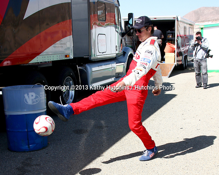 LOS ANGELES - MAR 23:  Michael Trucco playing with a soccer ball at the 37th Annual Toyota Pro/Celebrity Race training at the Willow Springs International Speedway on March 23, 2013 in Rosamond, CA          EXCLUSIVE PHOTO