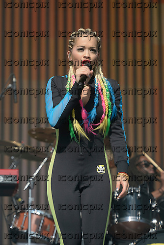 RITA ORA - performing live on the Main Stage on Day Three of the BBC RADIO ONE BIG WEEKEND held on Glasgow Green in Glasgow Scotland UK - 25 May 2014.  Photo credit: George Chin/IconicPix