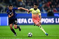 6th November 2019, Milan, Italy; UEFA Champions League football, Atalanta versus Manchester City; Berat Djimsiti beaten by Riyad Mahrez of man City